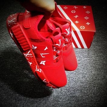 DCCKIJG Best Online Sale LV x Adidas NMD R1 Red Sport Running Shoes Casual Shoes Sneakers