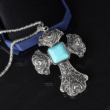 Vintage Cross Turquoise Pendant Choker Necklaces For Women Silver Plated Long Necklaces Jewelry Sweater Chain