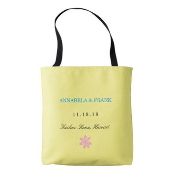Yellow Blue Personalized Wedding Welcome Tote Tote Bag
