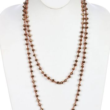 Brown Iridescent Glass Bead Extra Long Wraparound Necklace