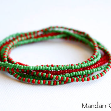 Christmas Bracelets, Set of Seven, Red and Green Seed Bead Stretch Bracelets, Stretchy Jewelry, Gift for Her, Ready to Ship Beadwork