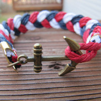 Anchor Clasp Braided Nautical Cotton Cord Bracelet Red, White and Blue - USA Seller