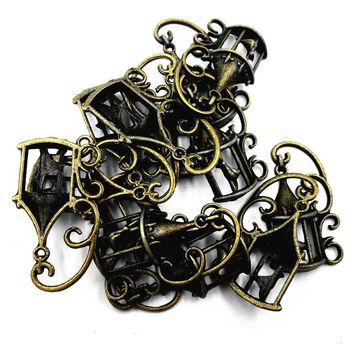 10Pcs Antique Bronze Tone Canary Bird In The Cage Anima Metal Charms Pendants For Necklaces Accessories DIY Jewelry Finding 33mm