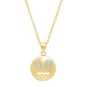 Cubic Zirconia Dizzy Face Emoji Pendant-Necklace in Gold Flashed Sterling Silver on an 18 inch chain