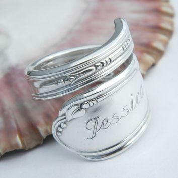 Engraved Spoon Ring, Spoon Ring, Spoon Jewelry, Personalized Spoon Ring, Silverware Jewelry, Personalized Jewelry, Personalized Gifts