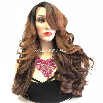 Brown Balayage Swiss Front Lace Wig | Long Curly Soft Layered Hair | Dawn