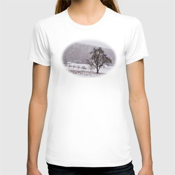 Old pear tree on a wintery meadow T-shirt by Pirmin Nohr