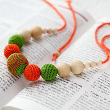Teething Necklace - Nursing mom necklace - crochet sling necklace - orange green  - Mother's Day gift idea