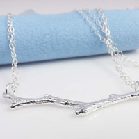 Pendant necklace - Silver Branch Necklace / Tree Branch Twig Necklace -STERLING SILVER CHAIN