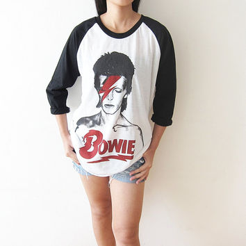 David Bowie Ziggy Stardust Baseball Raglan Tee Shirt Long Sleeve Men Women T-Shirts Unisex Size L
