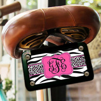 Cute girly license plate or frame, Monogram front car tag, Car accessories for girls, Pretty bike license plate, Pink black zebra (1427)