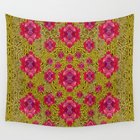 Fantasy-flowers to brighten up in gold Wall Tapestry by Pepita Selles