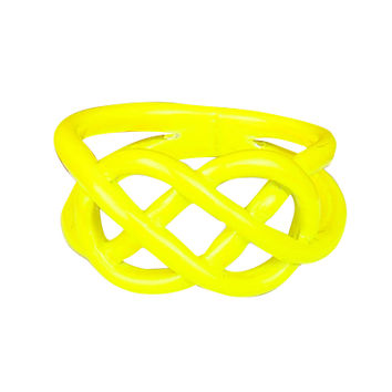 Yellow Neon Dipped Pretzel Ring