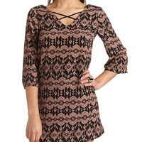 Strappy Deep V Ikat Print Shift Dress
