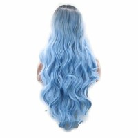 Colorful Long Wave Curly Black Ombre Blue Cosplay Wig Lolita Style Anime Cosplay Wigs Macchar Cosplay Catalogue