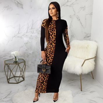 Hot fashion leopard print print sexy dress for women