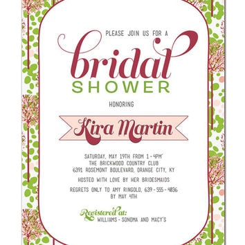 Bridal Shower Invitation Spring Pink Green Floral Retro Typography Baby Shower Wedding Invitation DIY Printable or Printed - Kira Style