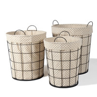 Adeco Multi-Purpose Tall, Circular Baskets with Polka dot Lining Home Decor, Set of 3