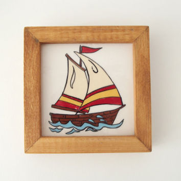 Ceramic Tile in Wood Frame Marine Art Let's Go Sailing...