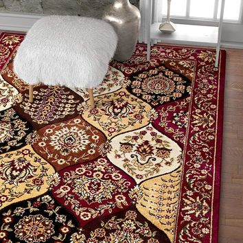 3954 Burgundy Panel Persian Oriental Area Rugs