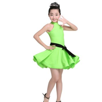 Sexy Turtleneck Sleeveless Spandex Latin Dance Dress Girls Children Kids Fancy Dress Ballroom Rumba Salsa Tango Dancewear