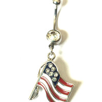 American Flag Charm Belly Button Ring - America Jewelry - Navel Ring - Flag Belly Button Ring - Silver Belly Button Ring