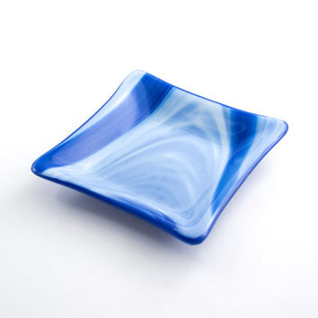 Cobalt Blue and White Fused Glass Dish, Jewelry Holder, Catch All, Trinket Bowl, Home Accessories, Bathroom Decor, Dresser Tray, Cool Gifts