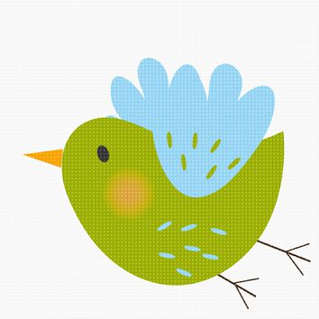 Contemporary Green Bird and a Cloud Hand Embroidery Pattern