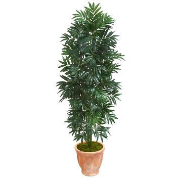 Artificial Tree -5 Foot Bamboo Palm Plant in Terra cotta Planter