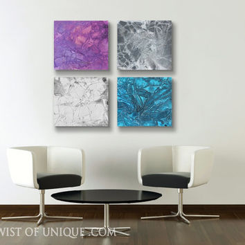 Industrial abstract Painting, CUSTOM 3 square  (15 Inch x 15 Inch) Wall Art, -Blue, purple, Gray, white, black