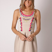 Esther Boutique - rana multi bead cocktail dress- beige