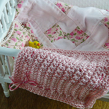 Dollhouse Miniature Baby Blanket Pink Homemade Small Blanket Little Pillow Tiny Afghan Inch Scale Shadowbox Accessory Collector Gift Set Fun