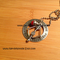 The Walking Dead inspired Fight the Dead, Fear the Living hand stamped pendant