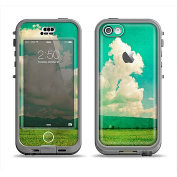 The Green Vintage Field Scene Apple iPhone 5c LifeProof Nuud Case Skin Set