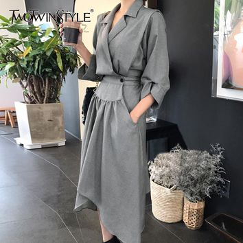 TWOTWINSTYLE Tunic Dress Female V Neck High Waist Ruched Pocket Split Asymmetrical Midi Dresses 2019 Spring Korean Clothing