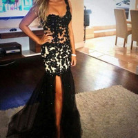 One Shouler Prom Dress,Black Prom Dresses,Long Evening Dresses