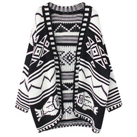 Geo Pattern Cardigan Sweater