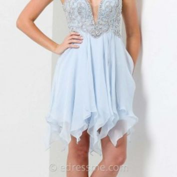 Handkerchief Mini Prom Gown by Tony Bowls Shorts
