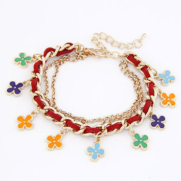Sweet Style Golden Pendant Bracelet with Colorful Flower, Gift for Friend, Birthday Gifts, Party Jewelry, Handcrafted Jewelry 11040772