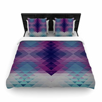 "Nika Martinez ""Hipsterland II"" Purple Teal Woven Duvet Cover"