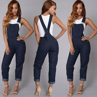 NEW Women Overalls  Casual Jumpsuit Jeans Stretch Romper Trousers Straps Overalls Bib Pants Dark Blue S