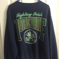vintage notre dame fighting irish navy blue crewneck sweater