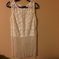 White Lace Embroidery Fringe Top By Youarenotalone Size L