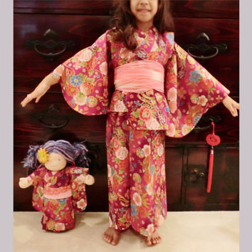 3 to 4 years old girl red kimono japanese yukata dress Walloween outfit gift for girl, girls Kawaii costume princess dress