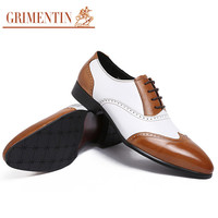 2016 British style vintage carved men oxford shoes casual genuine leather black and white dress shoes men flats for business office