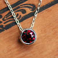 Red garnet necklace - solitaire bezel - January birthstone - slide necklace - recycled sterling silver - made to order - wrought collection