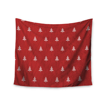 "Snap Studio ""Pine Pattern Red"" Maroon Wall Tapestry"
