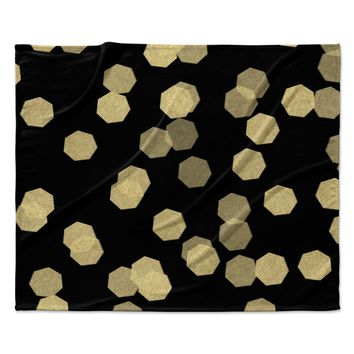 "Chelsea Victoria ""Confetti Noir"" Black Gold Fleece Throw Blanket"
