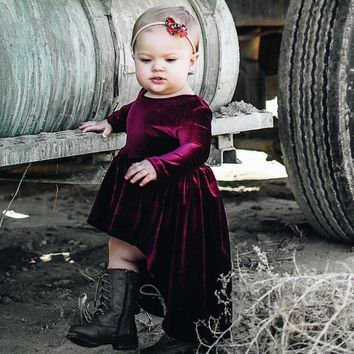 Girl's Long Sleeve Velour Princess Dress, Sizes 12M  - 4T