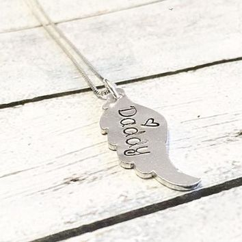 Angel wing - Hand stamped necklace - Loss necklace